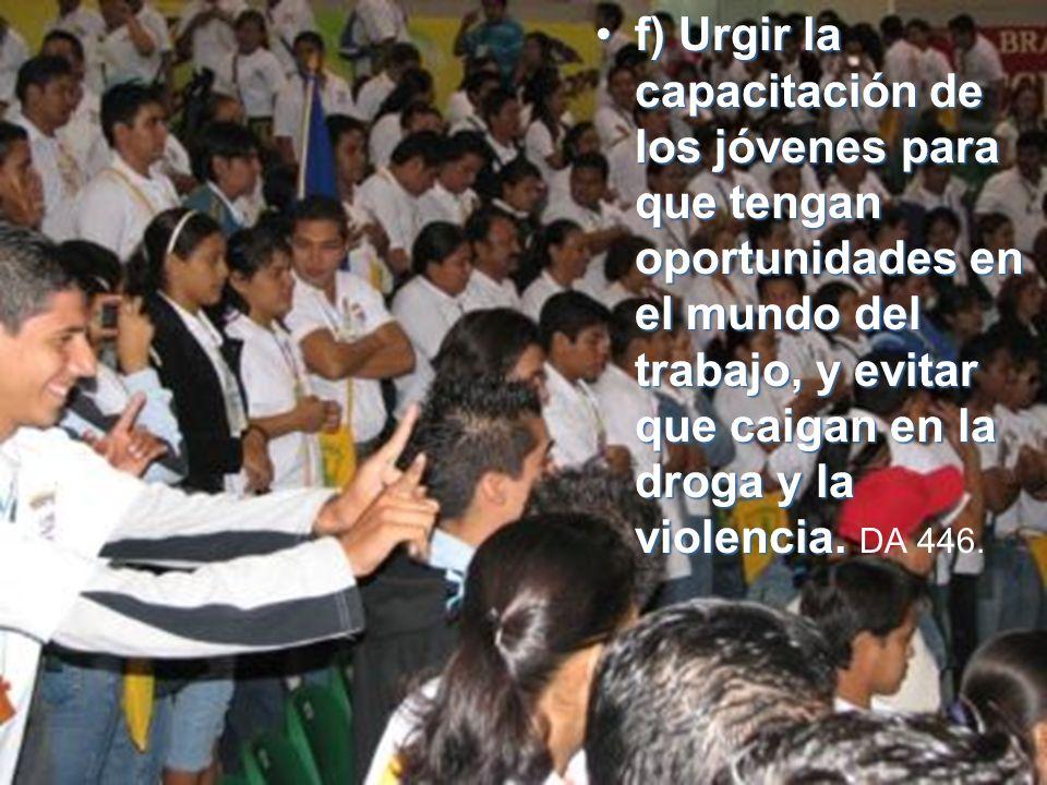 f) Urgir la capacitación de los jóvenes para que tengan oportunidades en el mundo del trabajo, y evitar que caigan en la droga y la violencia.