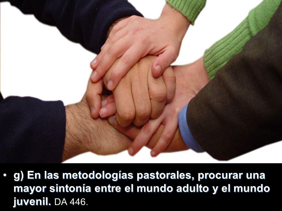 g) En las metodologías pastorales, procurar una mayor sintonía entre el mundo adulto y el mundo juvenil.