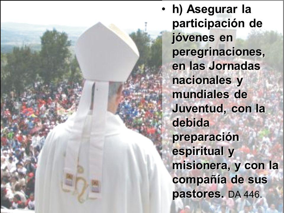 h) Asegurar la participación de jóvenes en peregrinaciones, en las Jornadas nacionales y mundiales de Juventud, con la debida preparación espiritual y misionera, y con la compañía de sus pastores.