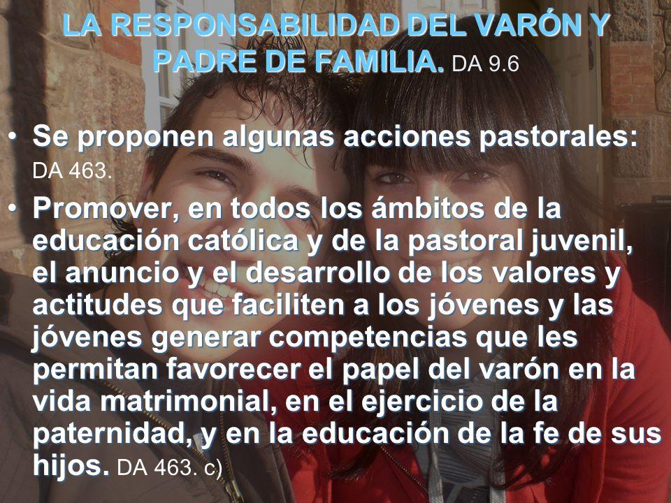 LA RESPONSABILIDAD DEL VARÓN Y PADRE DE FAMILIA. DA 9.6
