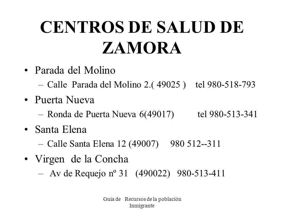 CENTROS DE SALUD DE ZAMORA