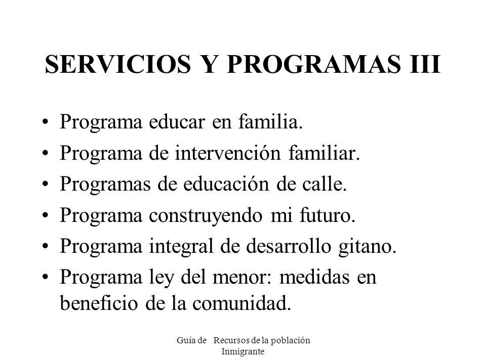 SERVICIOS Y PROGRAMAS III