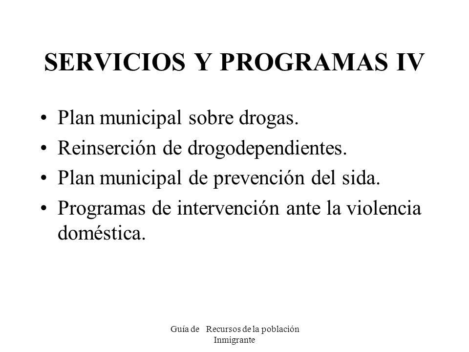 SERVICIOS Y PROGRAMAS IV