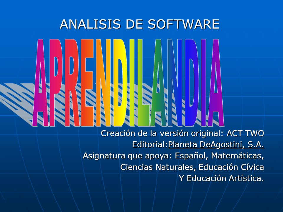 APRENDILANDIA ANALISIS DE SOFTWARE