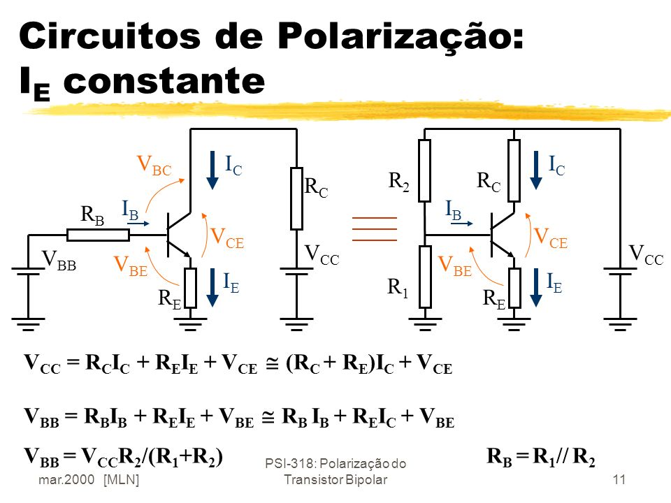 Circuitos de Polarização: IE constante