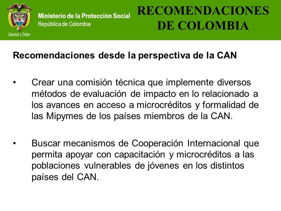 RECOMENDACIONES DE COLOMBIA
