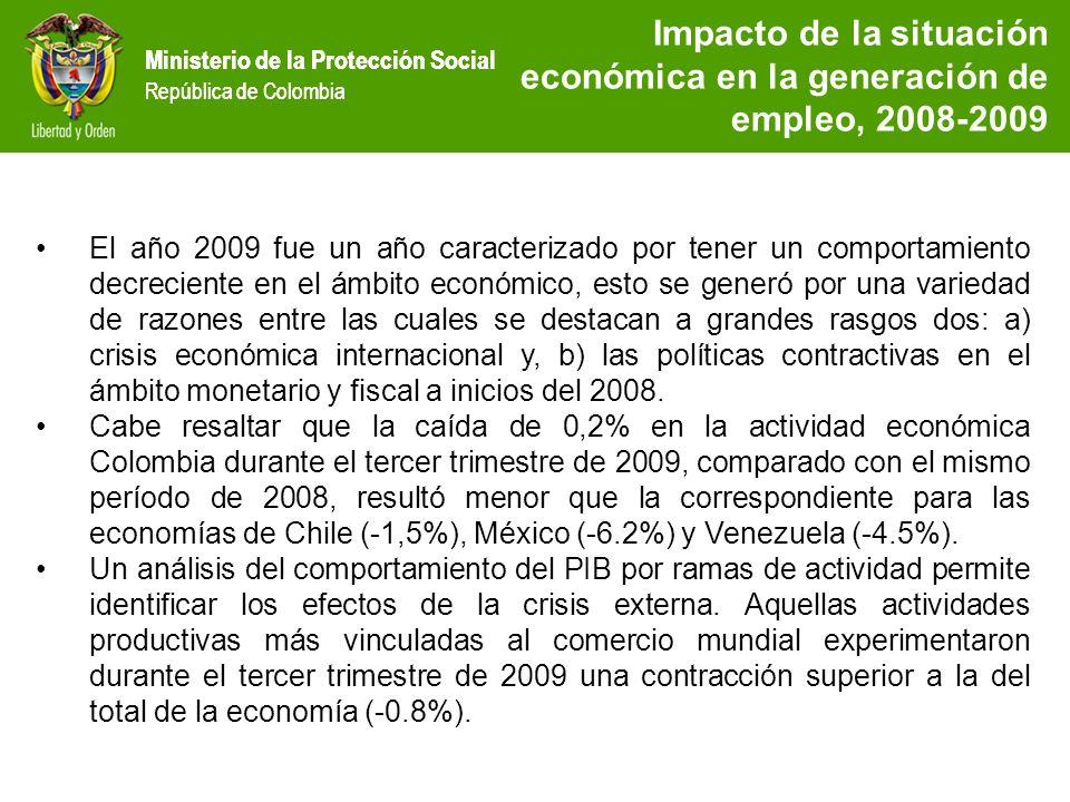 Impacto de la situación económica en la generación de empleo, 2008-2009