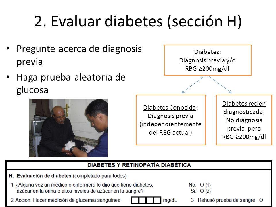 2. Evaluar diabetes (sección H)