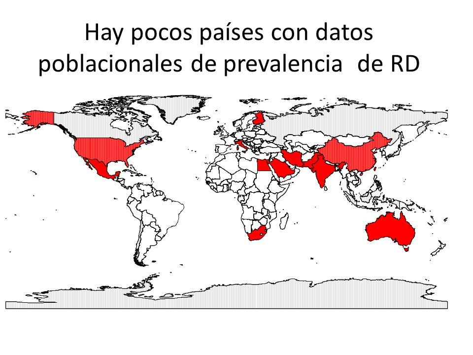Hay pocos países con datos poblacionales de prevalencia de RD