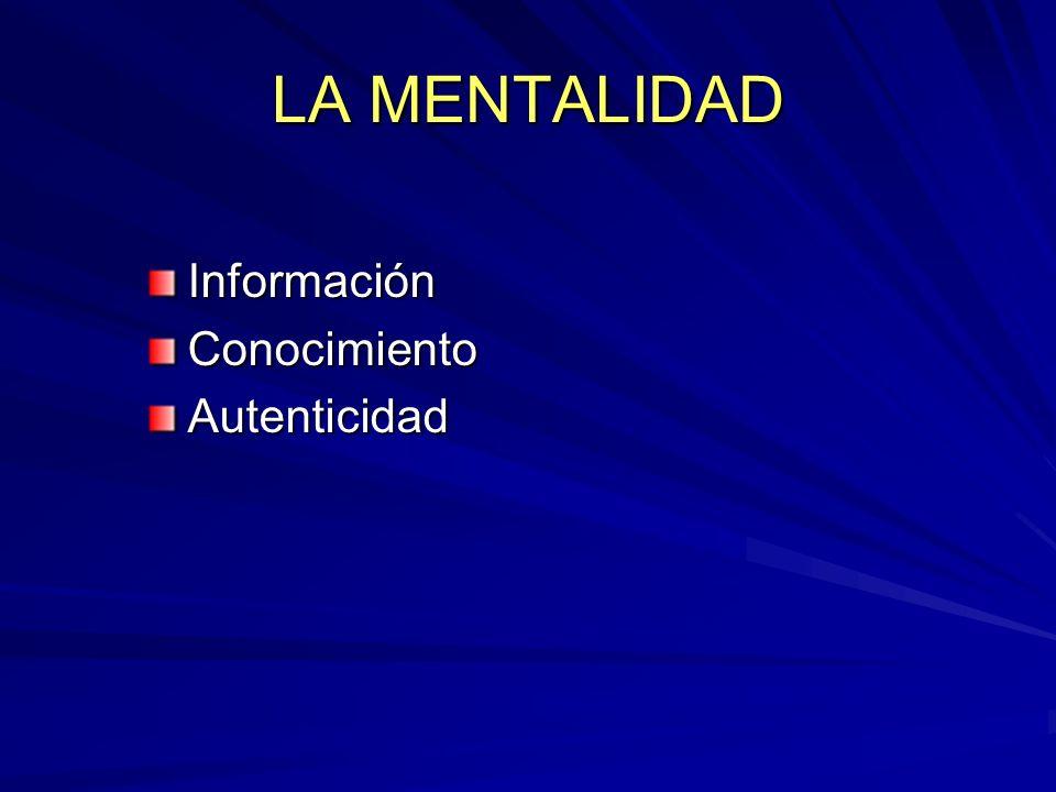 LA MENTALIDAD Información Conocimiento Autenticidad