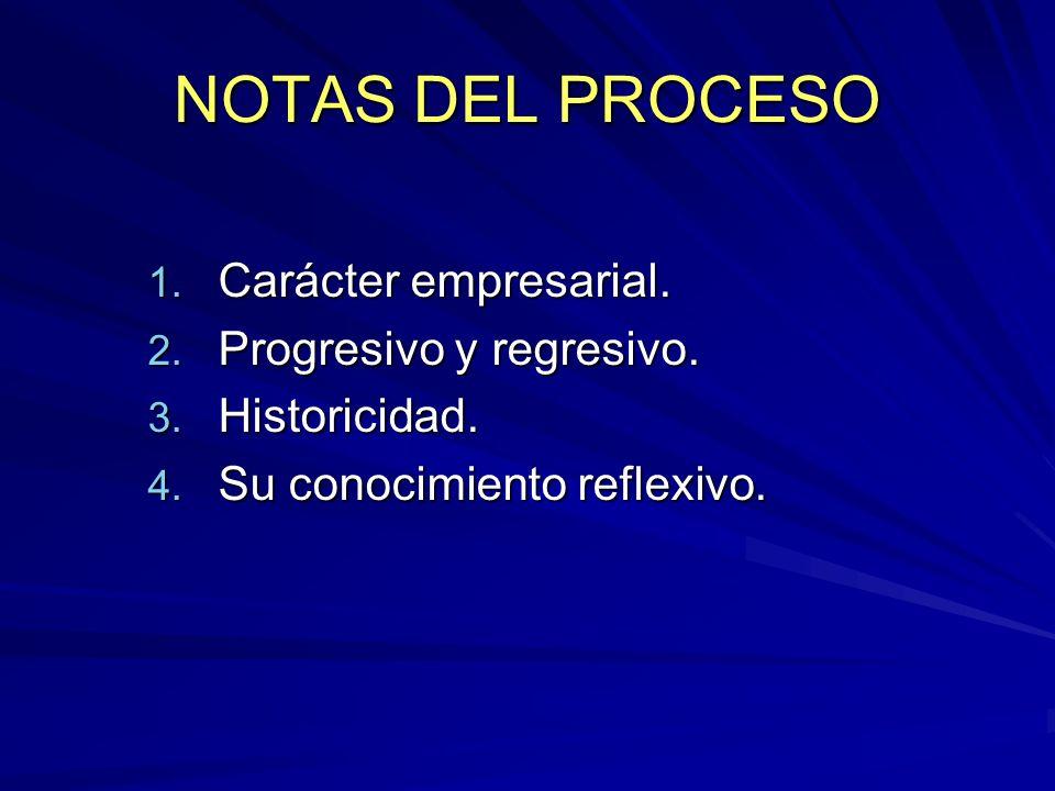 NOTAS DEL PROCESO Carácter empresarial. Progresivo y regresivo.