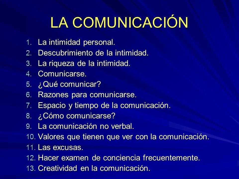 LA COMUNICACIÓN La intimidad personal. Descubrimiento de la intimidad.