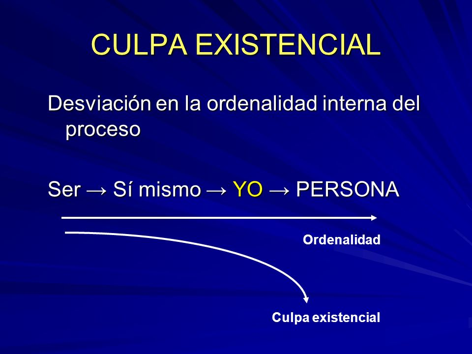 CULPA EXISTENCIAL Desviación en la ordenalidad interna del proceso