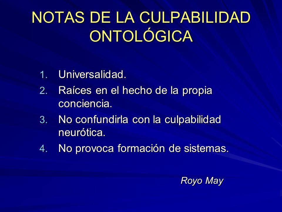 NOTAS DE LA CULPABILIDAD ONTOLÓGICA