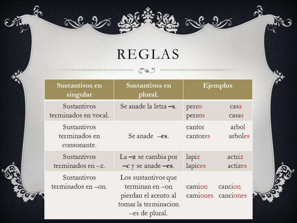 Sustantivos en singular