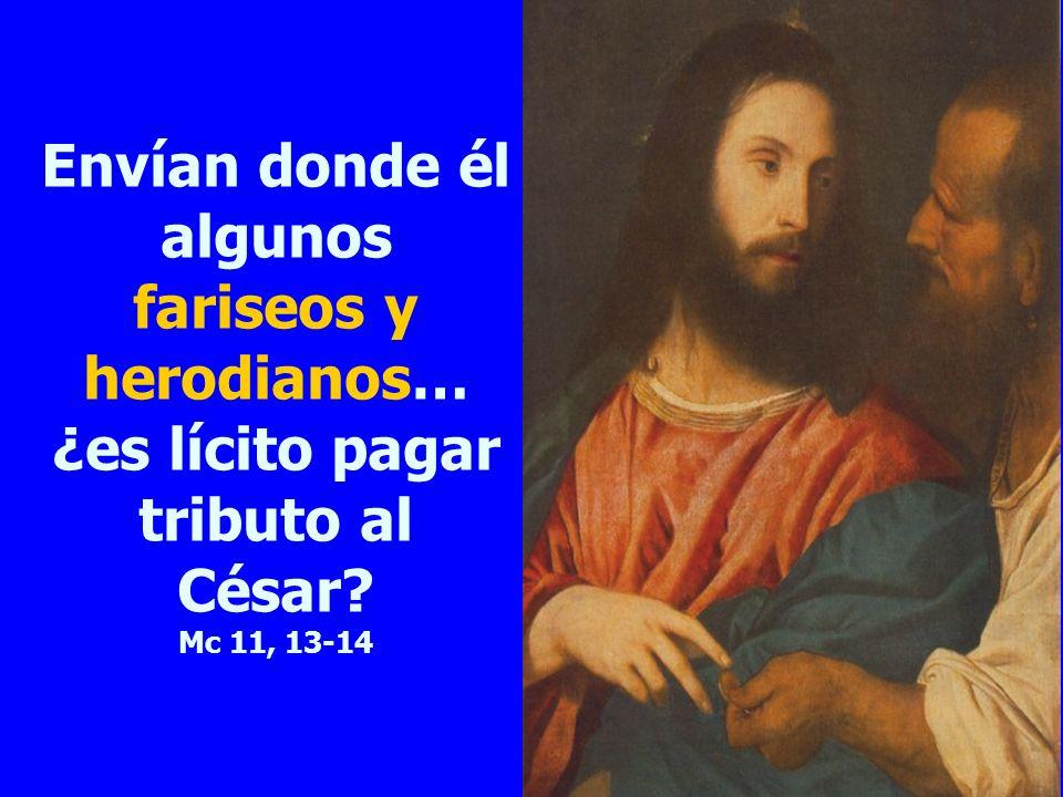 Envían donde él algunos fariseos y herodianos… ¿es lícito pagar tributo al César Mc 11, 13-14