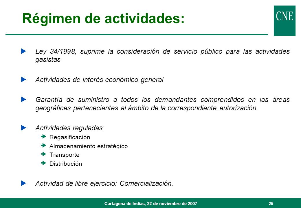 Régimen de actividades:
