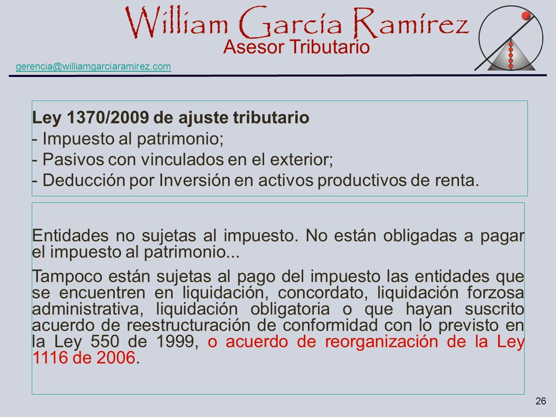Ley 1370/2009 de ajuste tributario