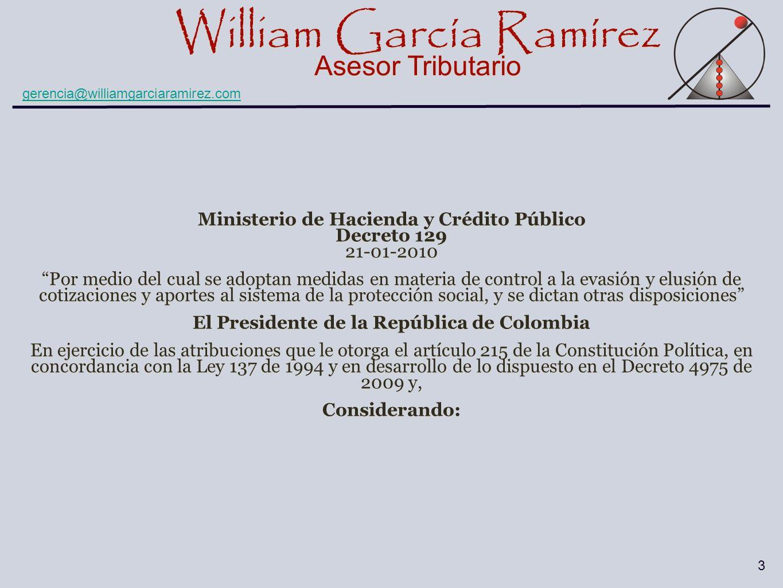 Ministerio de Hacienda y Crédito Público Decreto 129 21-01-2010