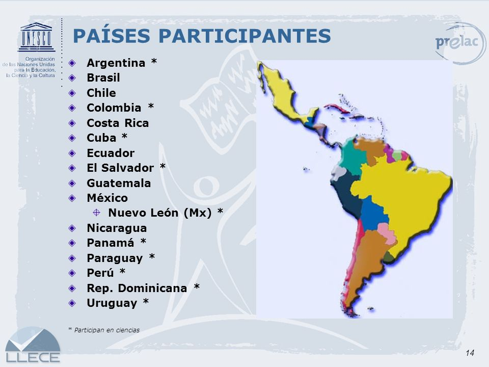 PAÍSES PARTICIPANTES Argentina * Brasil Chile Colombia * Costa Rica