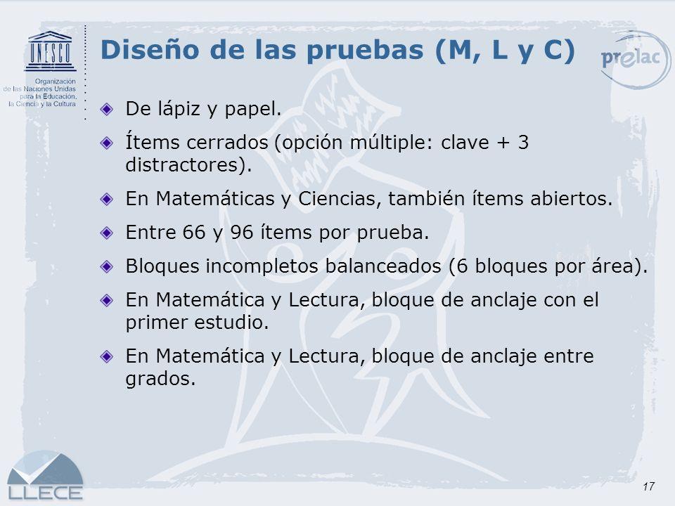 Diseño de las pruebas (M, L y C)