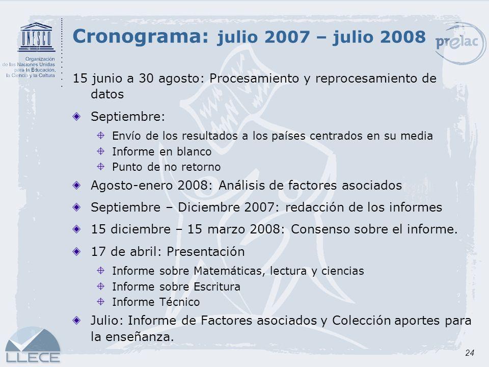 Cronograma: julio 2007 – julio 2008