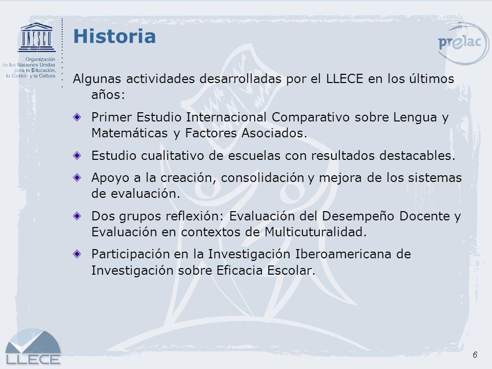 Historia Algunas actividades desarrolladas por el LLECE en los últimos años: