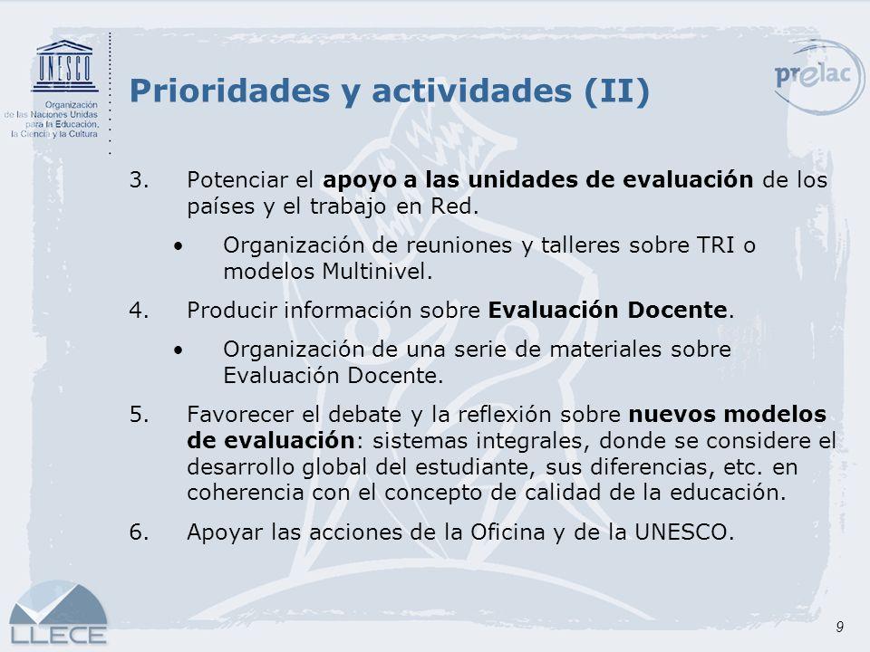 Prioridades y actividades (II)
