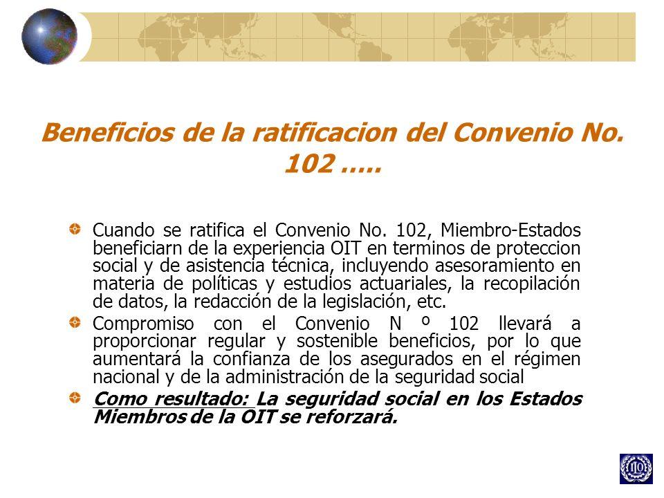 Beneficios de la ratificacion del Convenio No. 102 …..