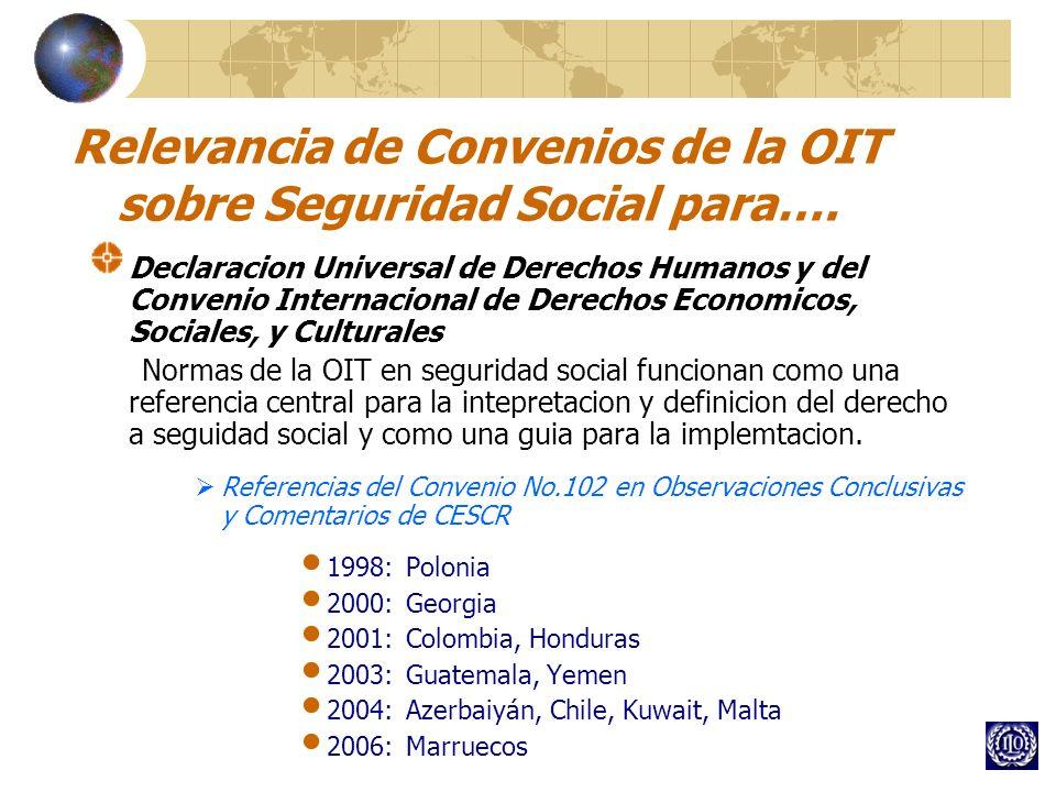 Relevancia de Convenios de la OIT sobre Seguridad Social para….