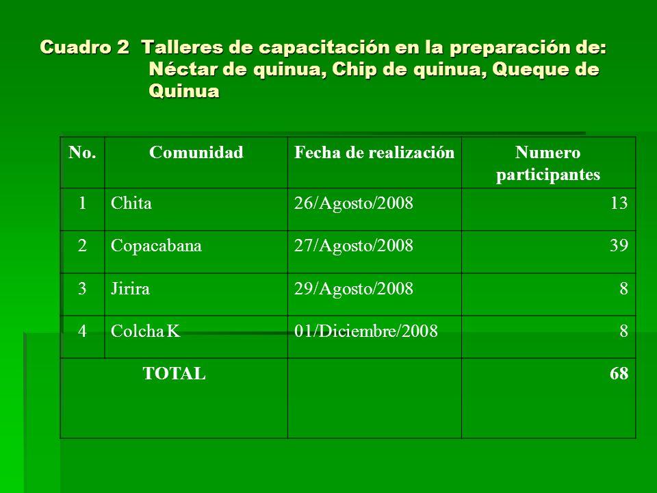 Cuadro 2 Talleres de capacitación en la preparación de: Néctar de quinua, Chip de quinua, Queque de Quinua