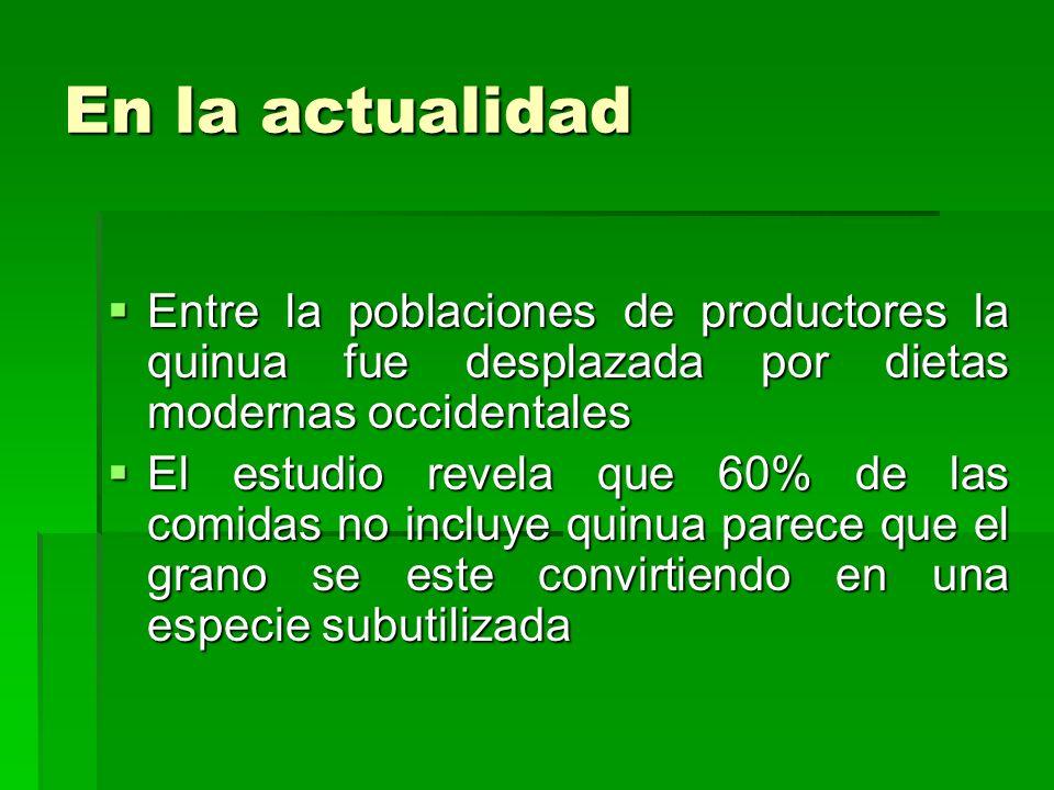 En la actualidadEntre la poblaciones de productores la quinua fue desplazada por dietas modernas occidentales.