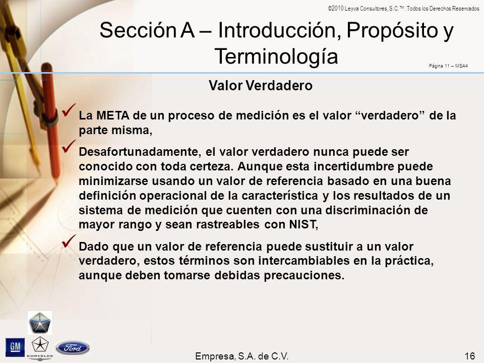 Sección A – Introducción, Propósito y Terminología