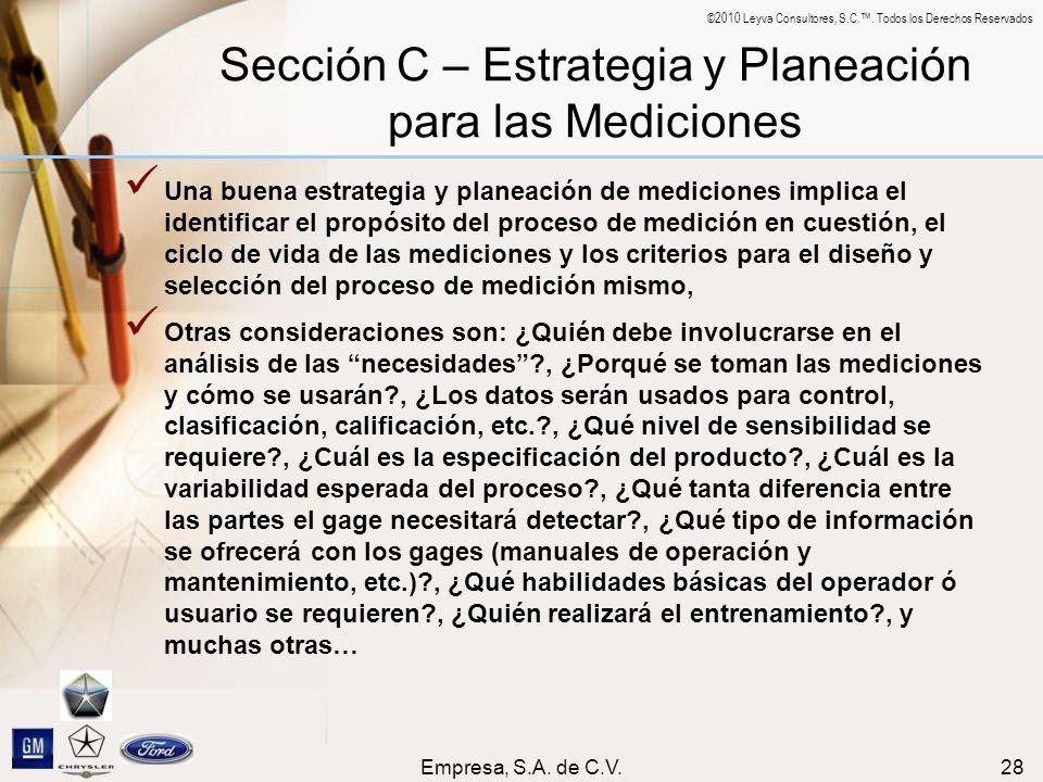 Sección C – Estrategia y Planeación para las Mediciones