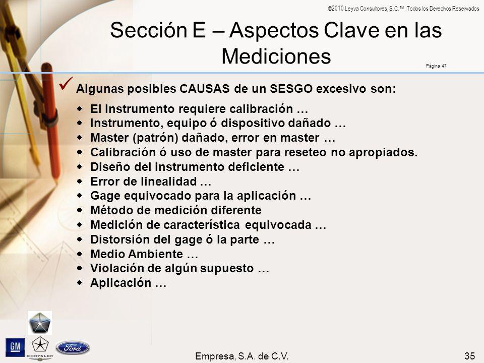 Sección E – Aspectos Clave en las Mediciones