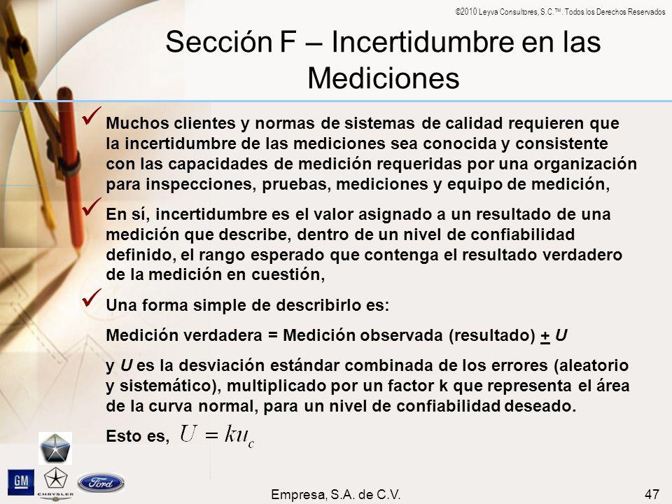 Sección F – Incertidumbre en las Mediciones