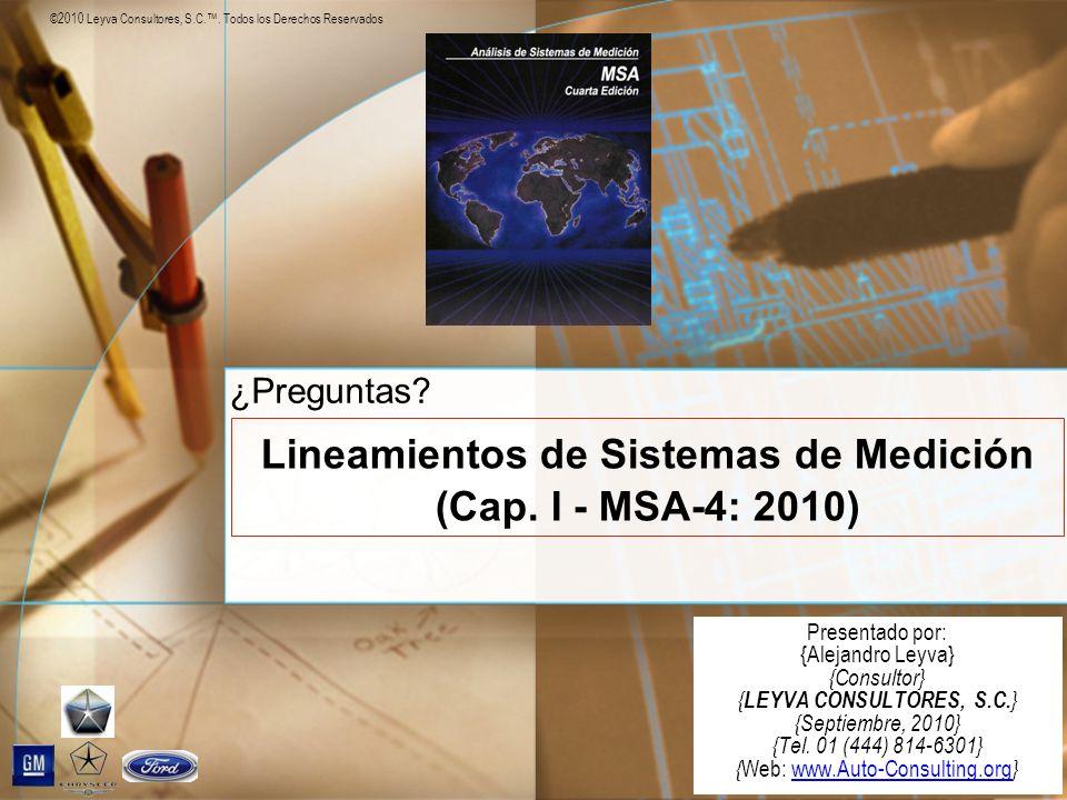 Lineamientos de Sistemas de Medición (Cap. I - MSA-4: 2010)