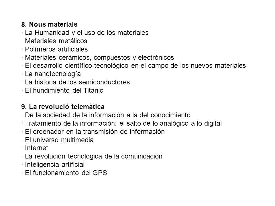 8. Nous materials · La Humanidad y el uso de los materiales. · Materiales metálicos. · Polímeros artificiales.