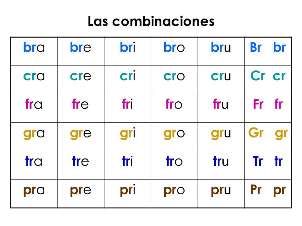 Las combinaciones bra. bre. bri. bro. bru. Br br. cra. cre. cri. cro. cru. Cr cr. fra.