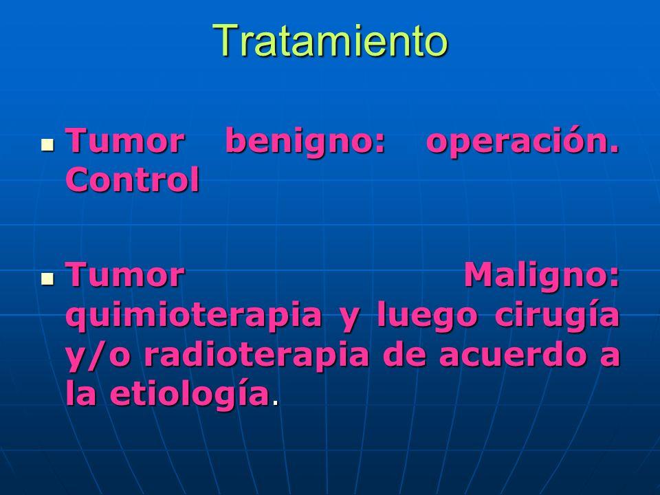 Tratamiento Tumor benigno: operación. Control