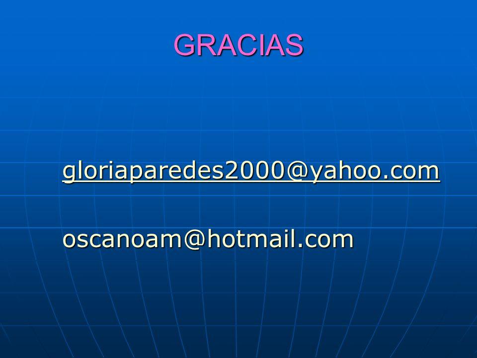 GRACIAS gloriaparedes2000@yahoo.com oscanoam@hotmail.com