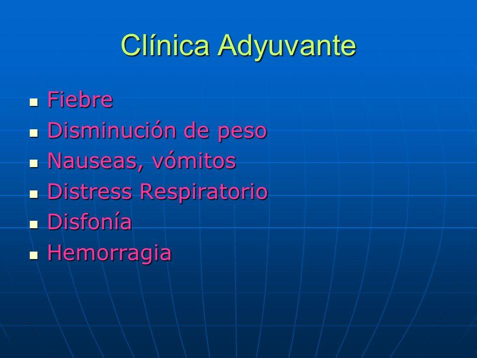 Clínica Adyuvante Fiebre Disminución de peso Nauseas, vómitos
