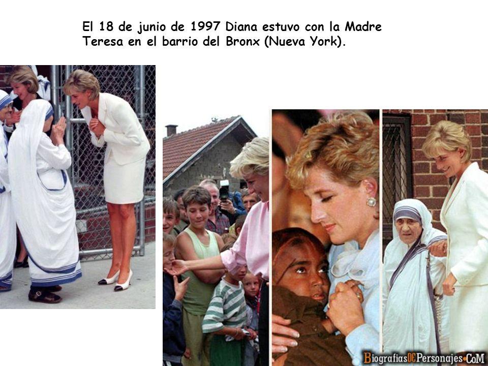 El 18 de junio de 1997 Diana estuvo con la Madre Teresa en el barrio del Bronx (Nueva York).