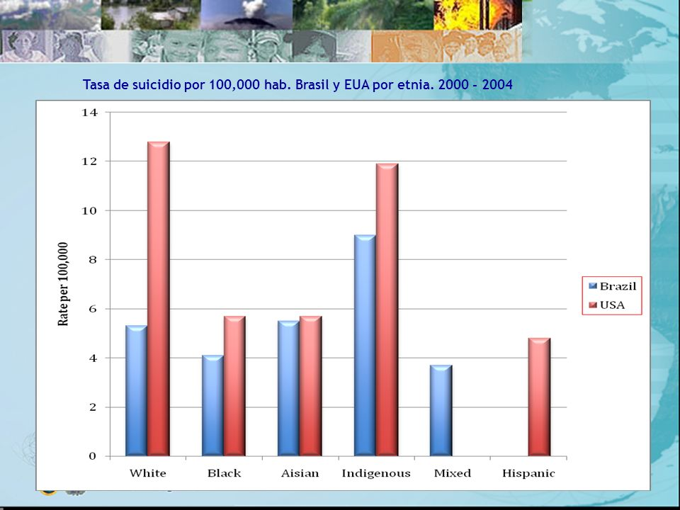 Tasa de suicidio por 100,000 hab. Brasil y EUA por etnia. 2000 - 2004