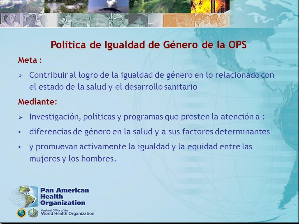 Politica de Igualdad de Género de la OPS
