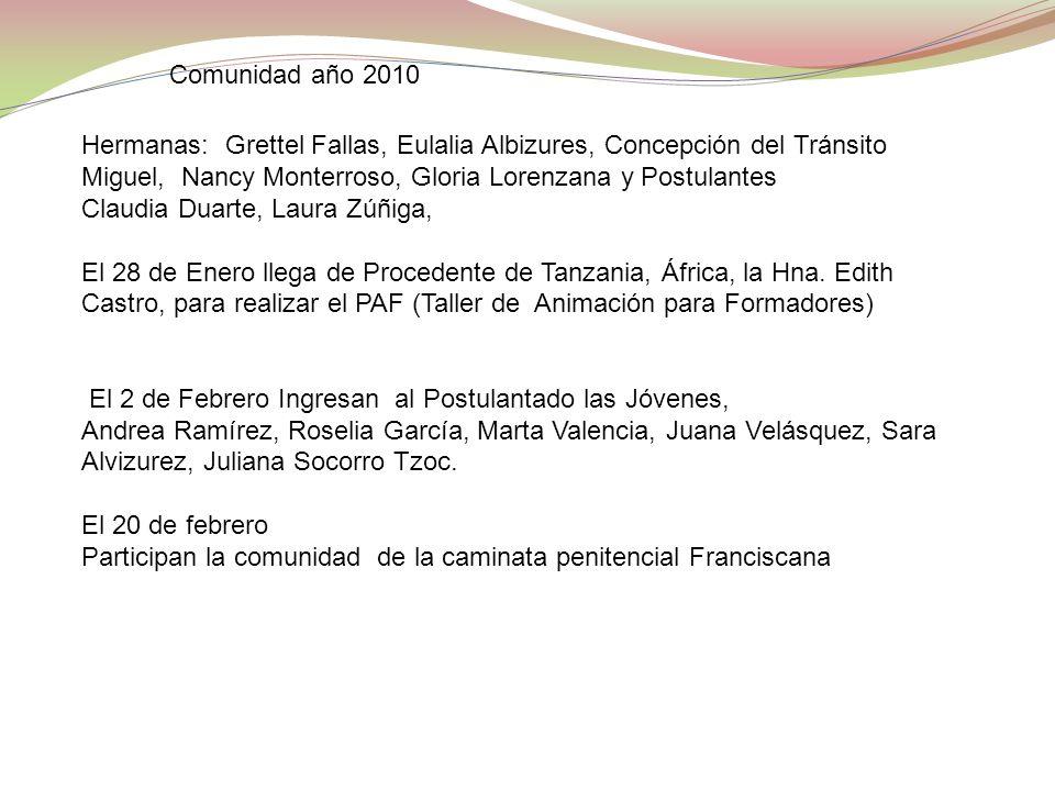 Comunidad año 2010 Hermanas: Grettel Fallas, Eulalia Albizures, Concepción del Tránsito Miguel, Nancy Monterroso, Gloria Lorenzana y Postulantes.