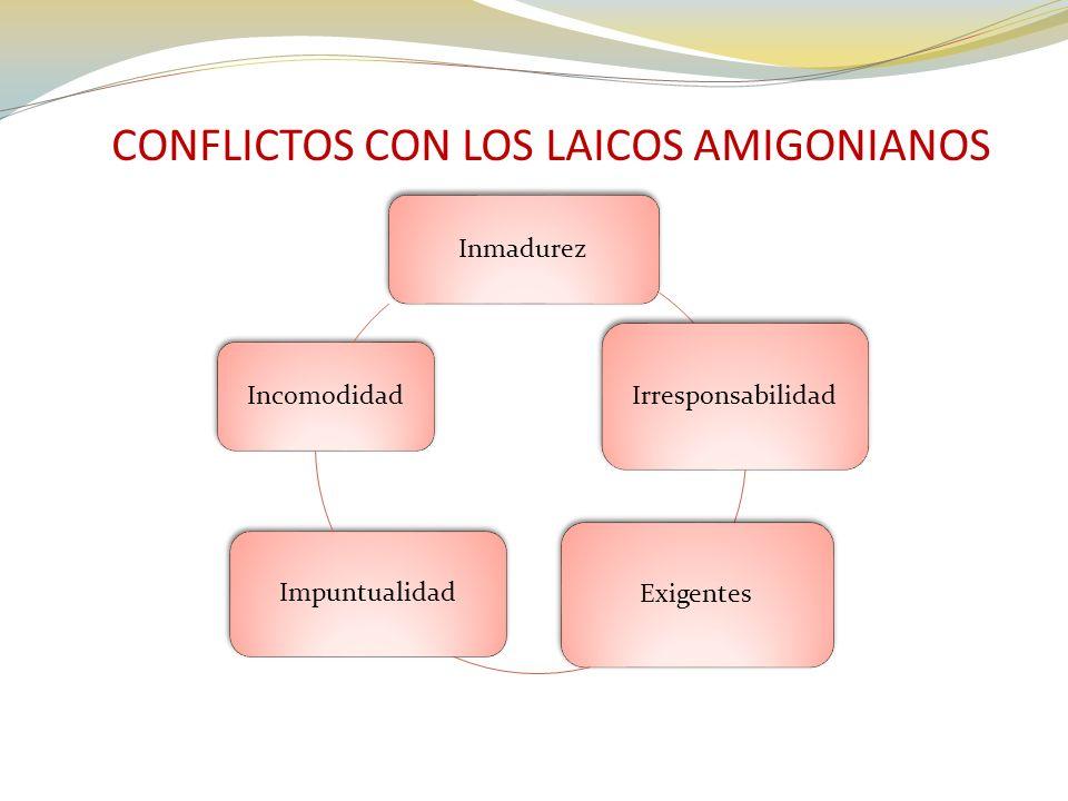 CONFLICTOS CON LOS LAICOS AMIGONIANOS