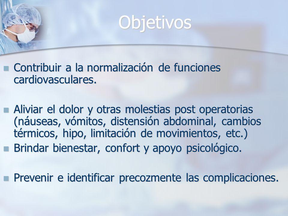 Objetivos Contribuir a la normalización de funciones cardiovasculares.