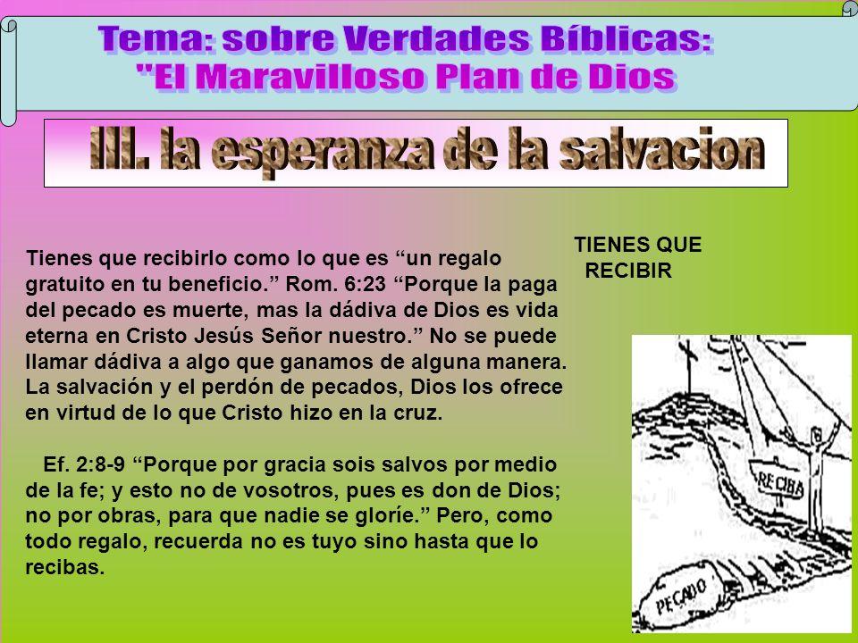 Recibir Tema: sobre Verdades Bíblicas: El Maravilloso Plan de Dios