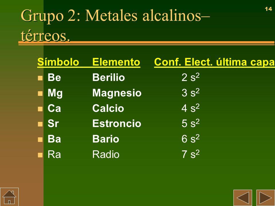 Grupo 2: Metales alcalinos–térreos.